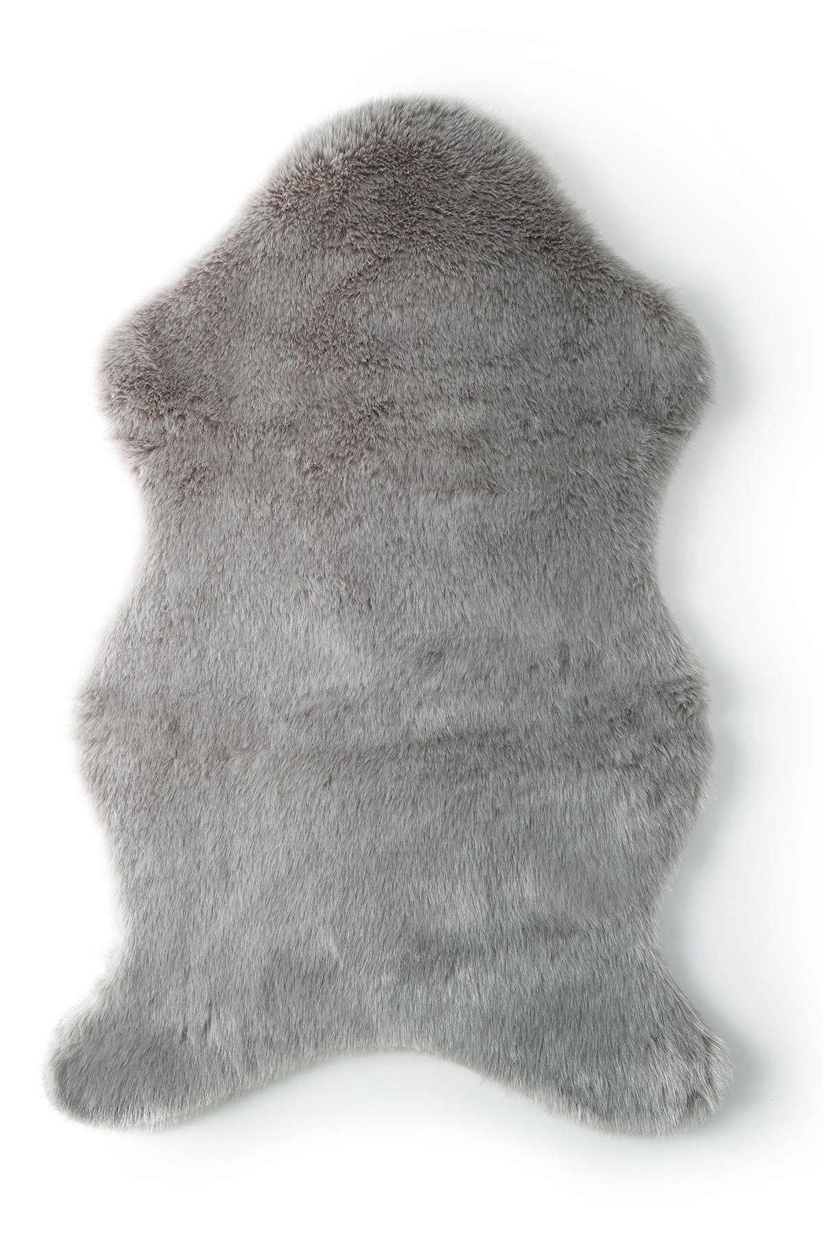 """Image of Levtex Faux Fur Shaped Rug - Grey - 36""""x24"""""""