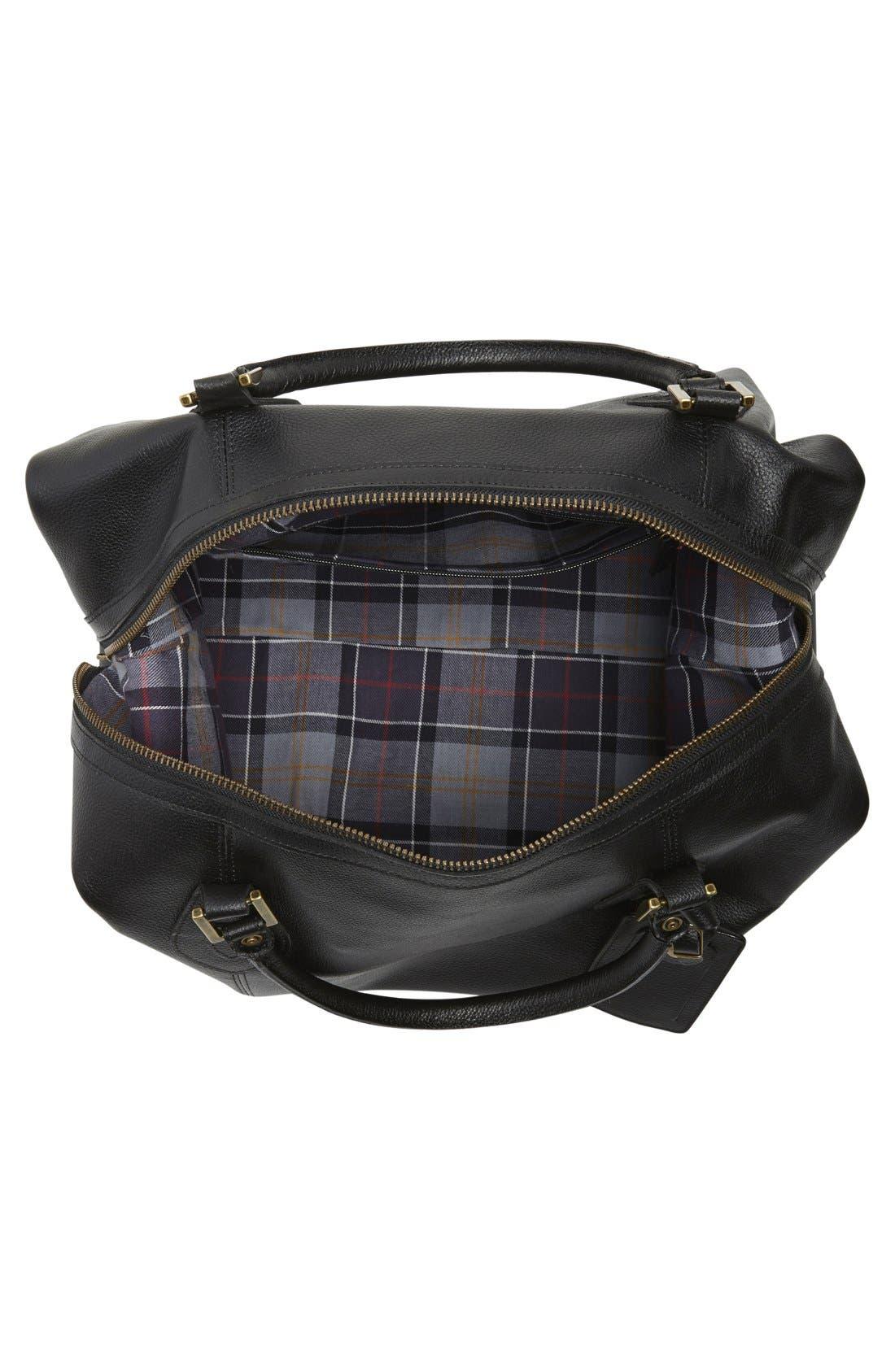 ,                             Leather Duffle Bag,                             Alternate thumbnail 6, color,                             BLACK