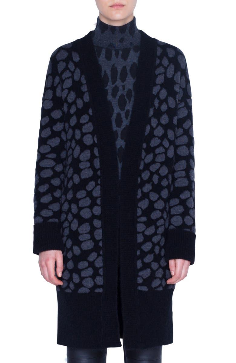 AKRIS PUNTO Animal Dot Jacquard Wool Blend Cardigan, Main, color, GRAPHITE/ BLACK
