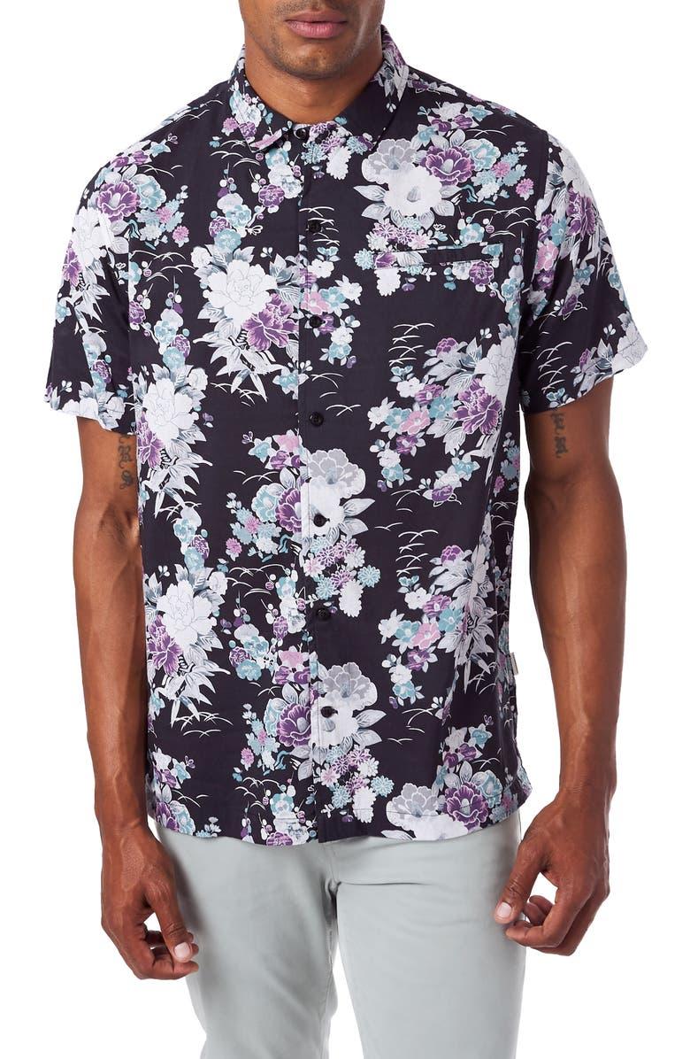 7 DIAMONDS Slim Fit Floral Short Sleeve Button-Up Sport Shirt, Main, color, BLACK