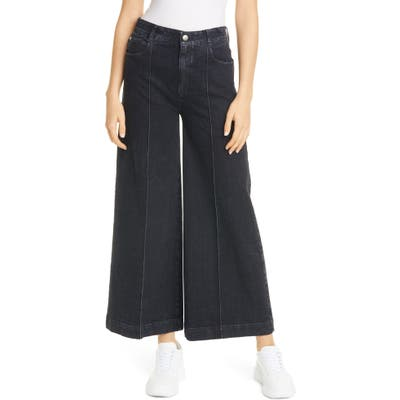 Stella Mccartney High Waist Wide Leg Crop Jeans, Black