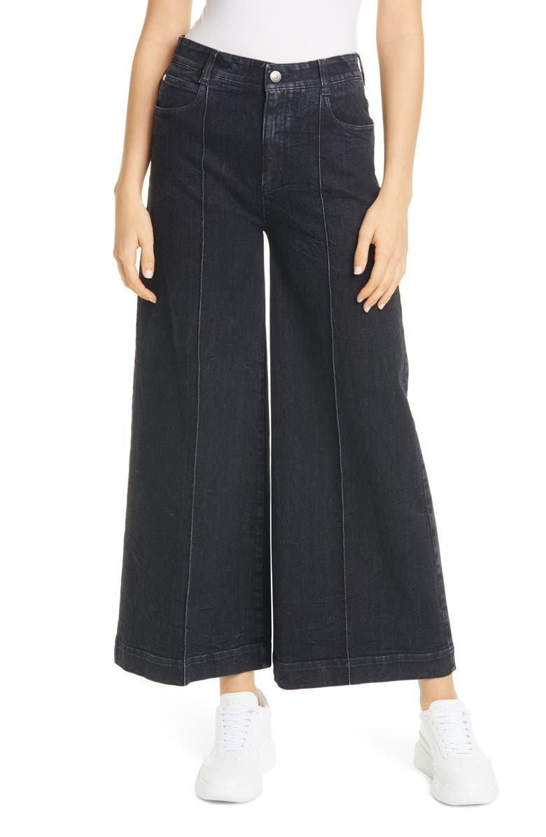 STELLA MCCARTNEY High Waist Wide Leg Crop Jeans, Main, color, EXTREME BLACK