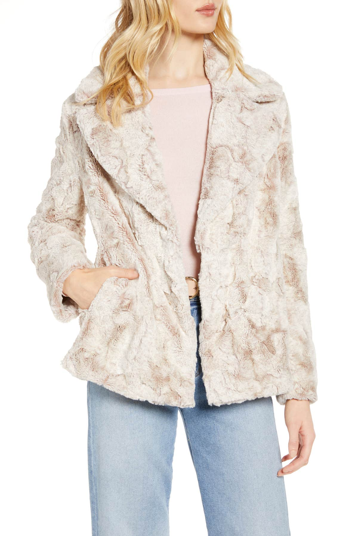 Textured Faux Fur Coat, Main, color, TAN
