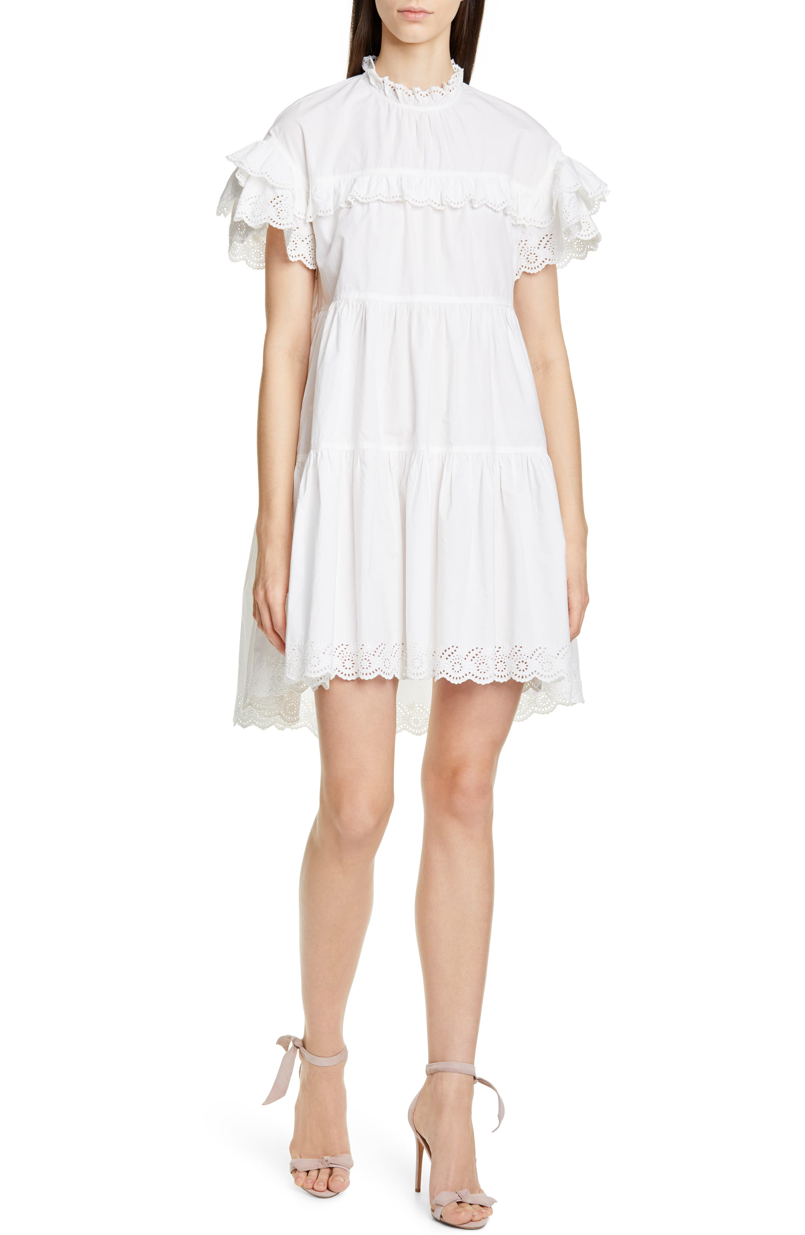 Ulla Johnson Dresses Leonie Eyelet Trim Trapeze Dress