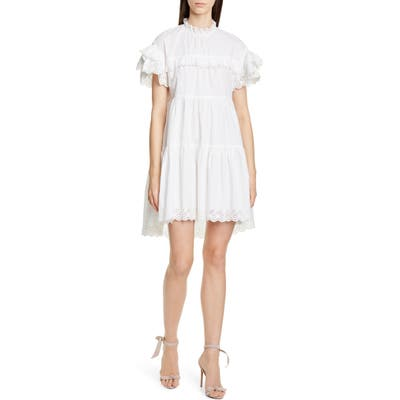 Ulla Johnson Leonie Eyelet Trim Trapeze Dress, White