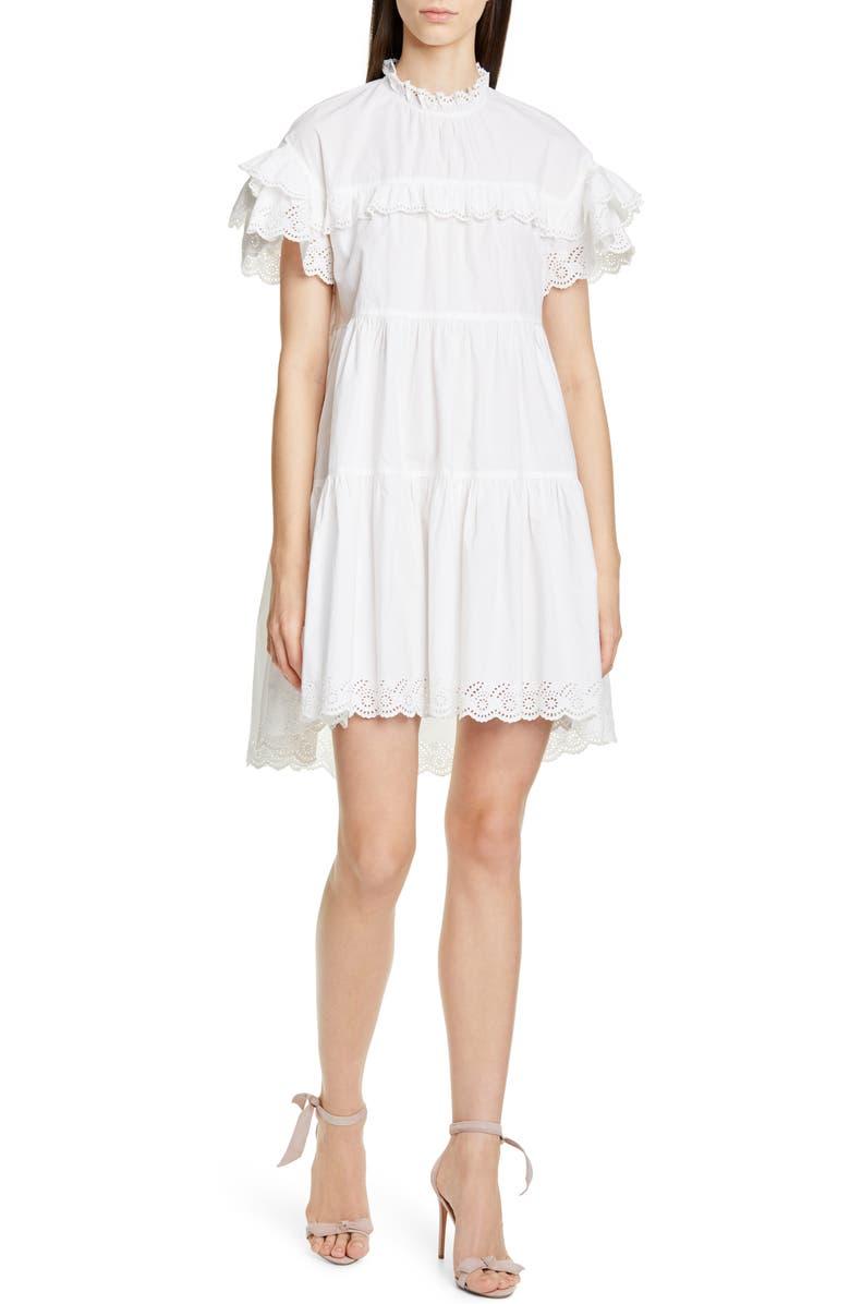 ULLA JOHNSON Leonie Eyelet Trim Trapeze Dress, Main, color, BLANC