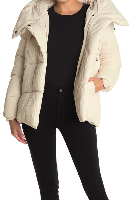Image of BCBGMAXAZRIA Pillow Collar Hooded Puffer Jacket