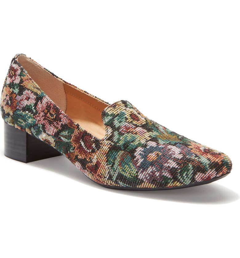 ME TOO Gwen Block Heel Pump, Main, color, WINE FLORAL TAPESTRY FABRIC