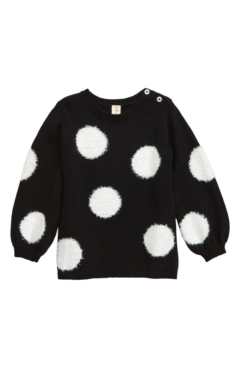 TUCKER + TATE Fuzzy Dot Tunic Sweater, Main, color, BLACK- IVORY DOT