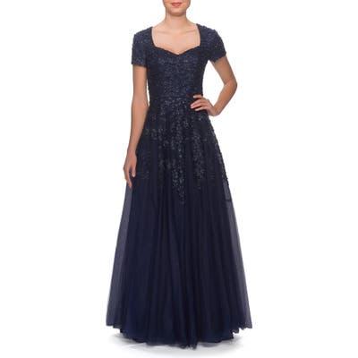 La Femme Embellished Tulle A-Line Gown, Blue