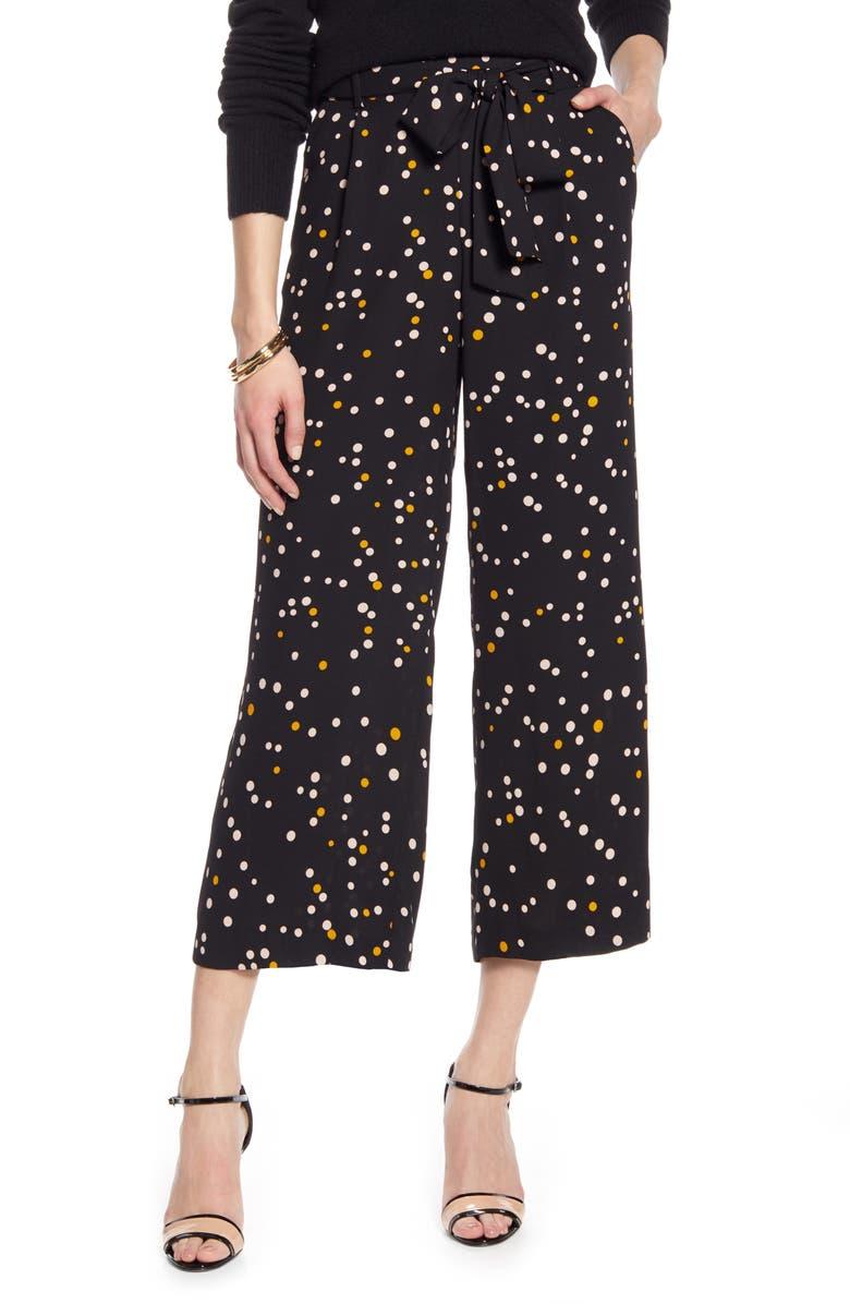 HALOGEN<SUP>®</SUP> Wide Leg Crop Pants, Main, color, BLACK- PINK MIXED DOT