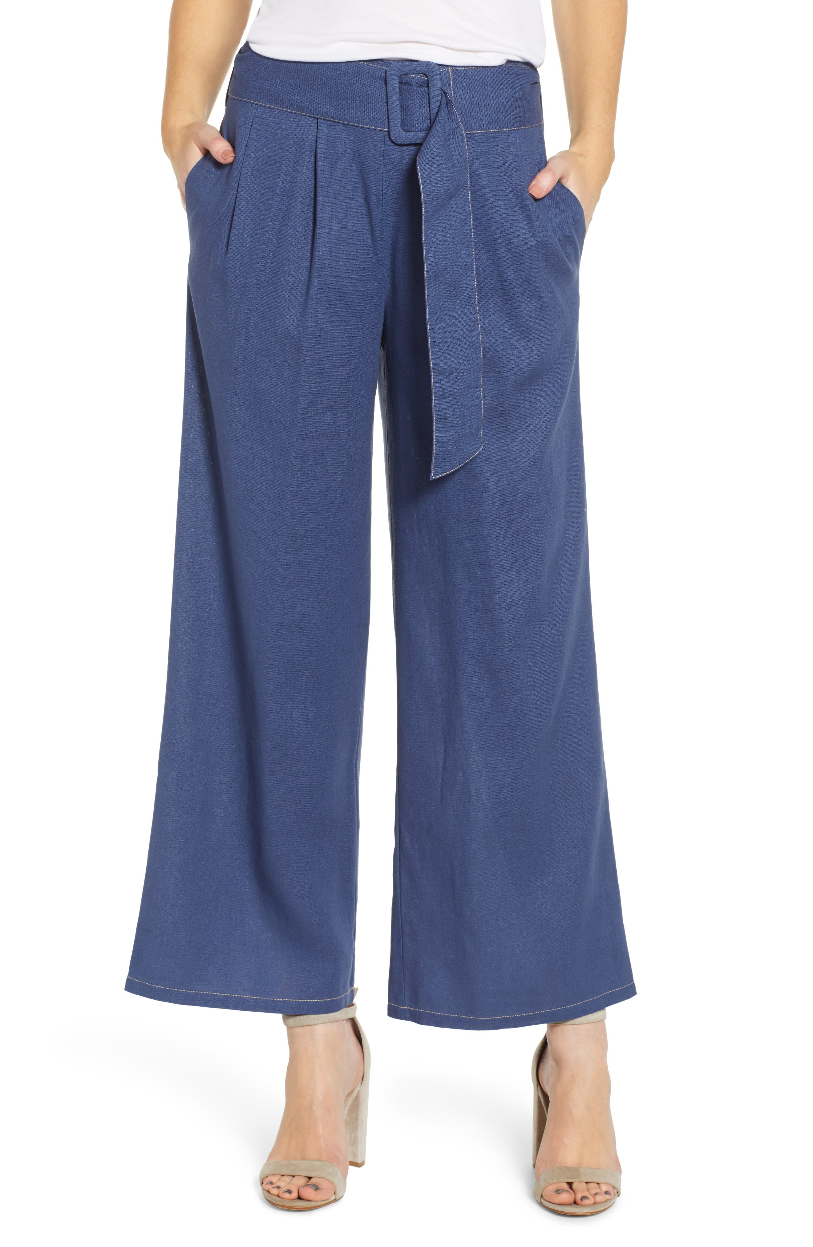 ,                             Belted Wide Leg Pants,                             Main thumbnail 1, color,                             400