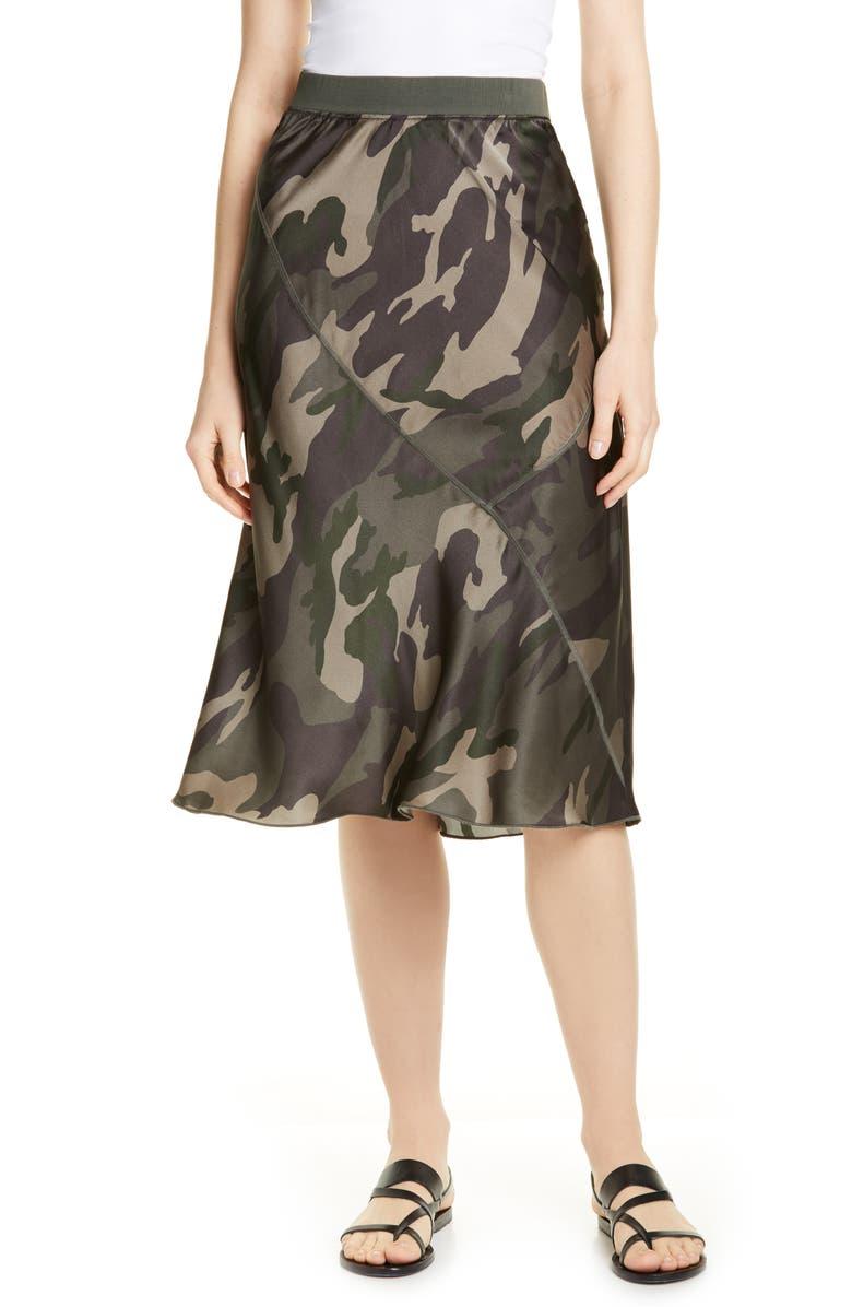 ATM ANTHONY THOMAS MELILLO Camo Print Silk Skirt, Main, color, JUNGLE CAMO