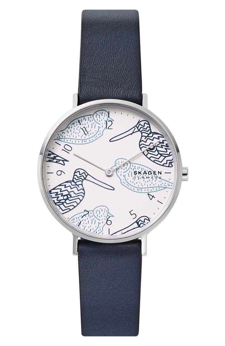 SKAGEN Aaren Leather Strap Watch, 36mm, Main, color, 400