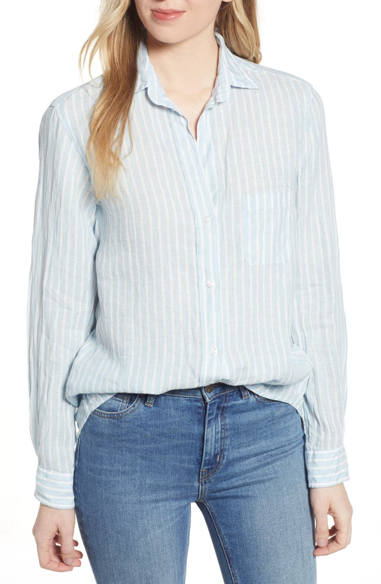 GRAYSON The Hero Linen Shirt, Main, color, BENAZIR BLUE AND WHITE STRIPE