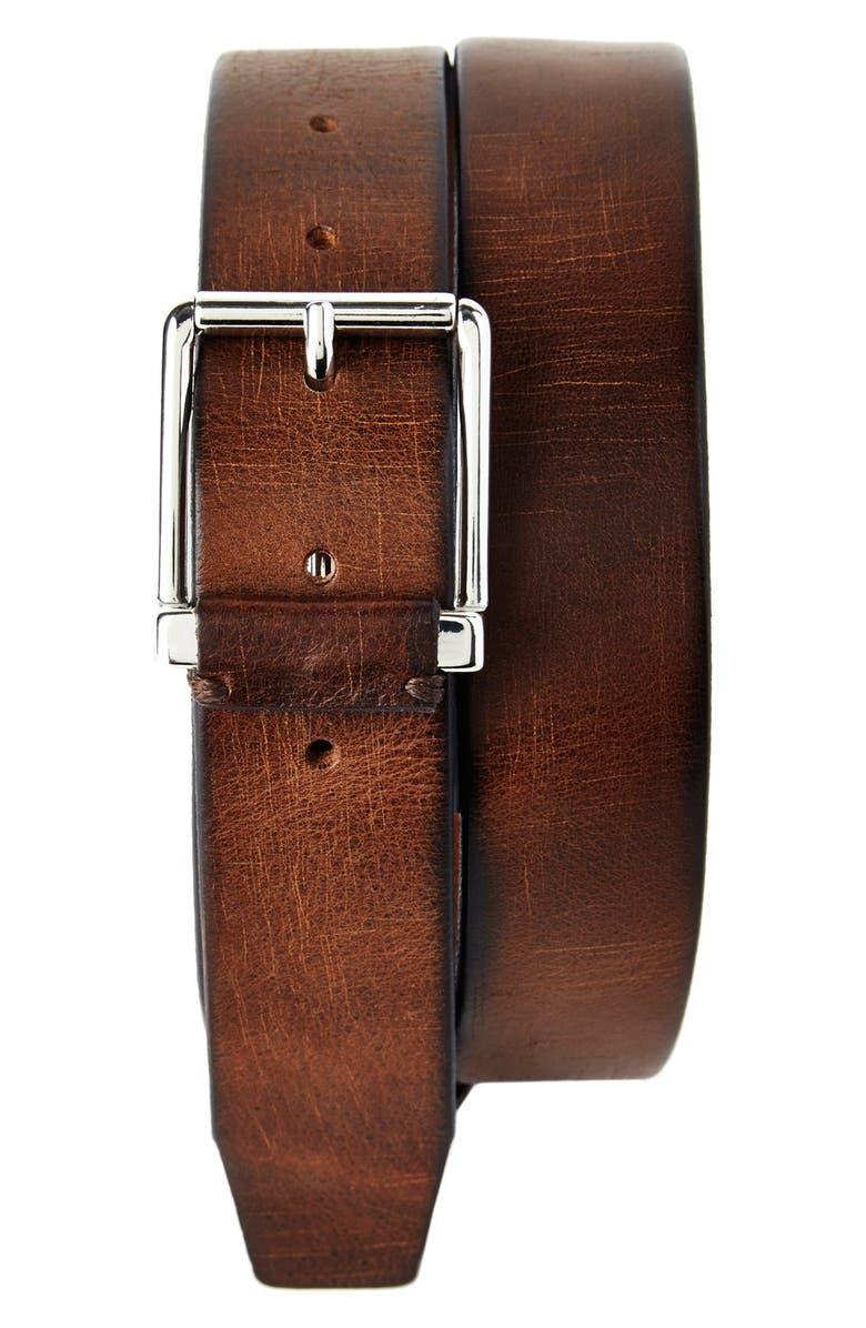 TRAFALGAR 'Garrett' Leather Belt, Main, color, 249