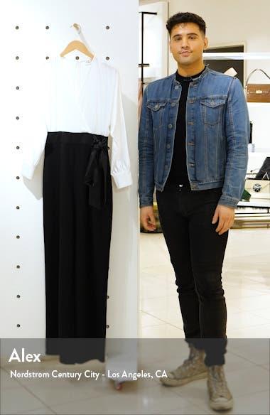 Long Sleeve V-Neck Satin Bodice Jumpsuit, sales video thumbnail