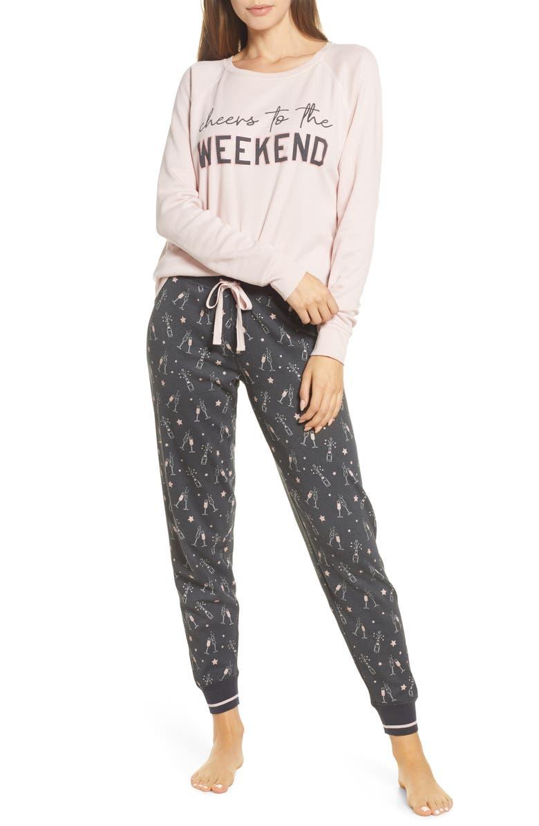 PJ SALVAGE Stripe Thermal Pajamas, Main, color, CHARCOAL