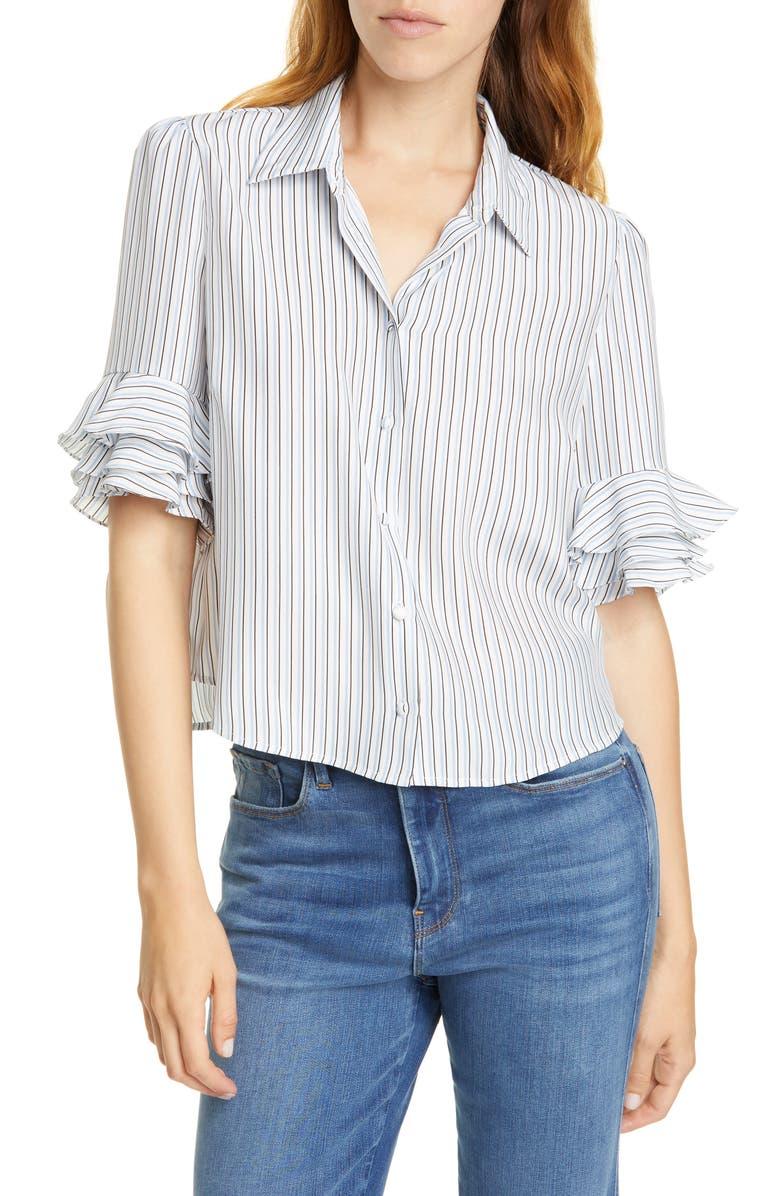FRAME Ruffle Sleeve Silk Top, Main, color, 901