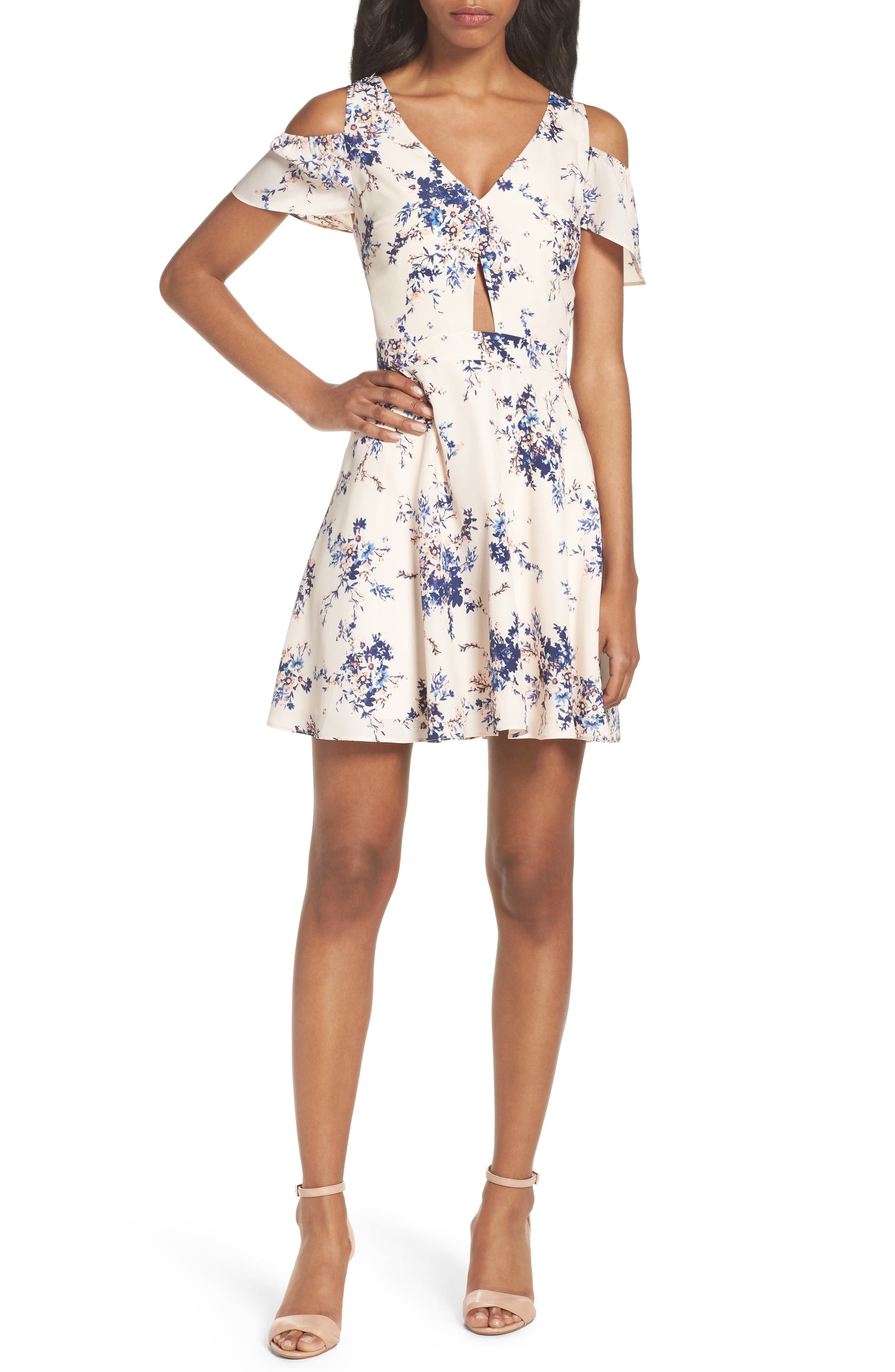 Chasing Butterflies Cold Shoulder Dress, Main, color, 908