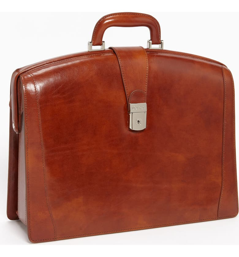 BOSCA Triple Compartment Leather Briefcase, Main, color, AMBER
