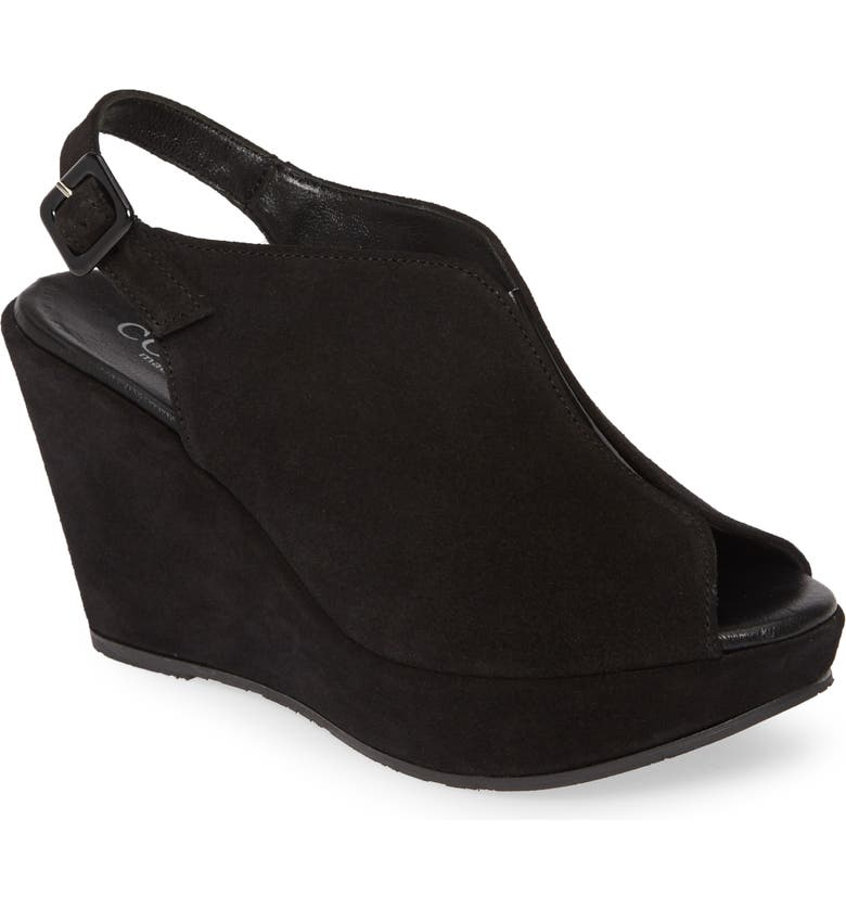 CORDANI Raina Wedge Sandal, Main, color, BLACK SUEDE
