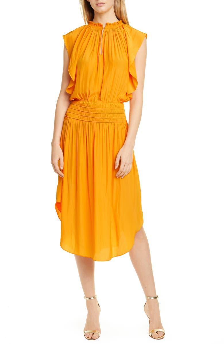 RAMY BROOK Wren Mock Neck Smocked Midi Dress, Main, color, BUTTERCUP