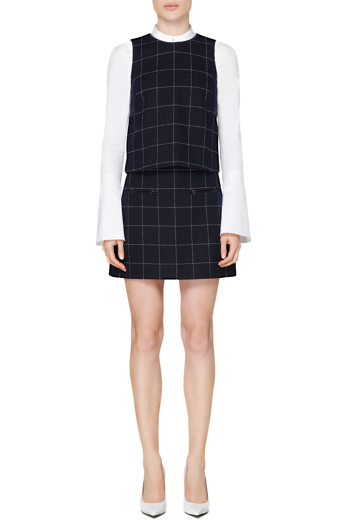 Image of SUISTUDIO Alfie Windowpane Print Mini Skirt