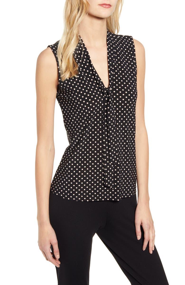 ANNE KLEIN Polka Dot Tie Neck Sleeveless Top, Main, color, ANNE BLACK/ ANNE WHITE
