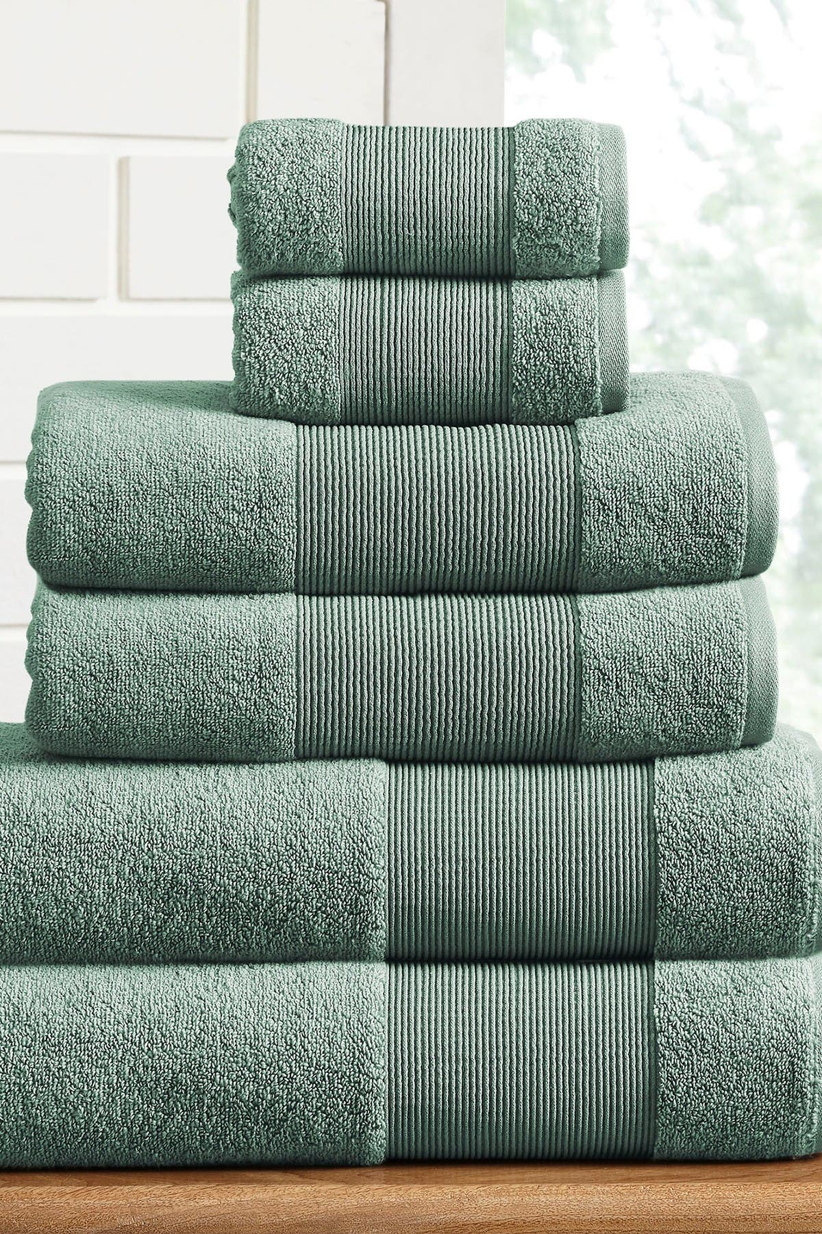 Image of Modern Threads Air Cloud 6-Piece Towel Set - Eucalyptus