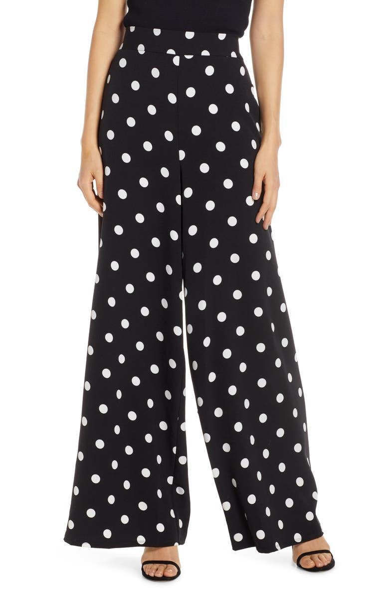 ELIZA J Polka Dot Wide Leg Crepe Pants, Main, color, BLACK