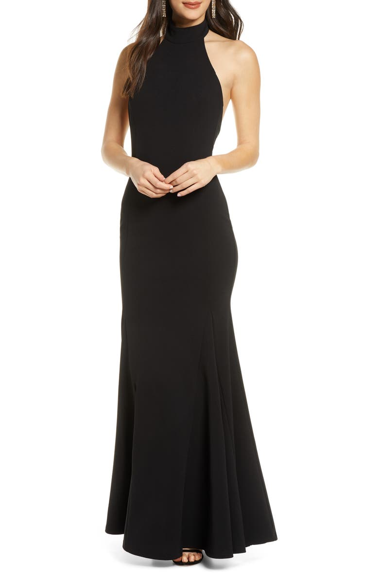 LULUS Slice of Joy Halter Trumpet Gown, Main, color, BLACK