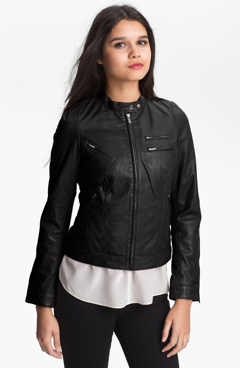 BOD & CHRISTENSEN Zip Leather Jacket, Main, color, 001