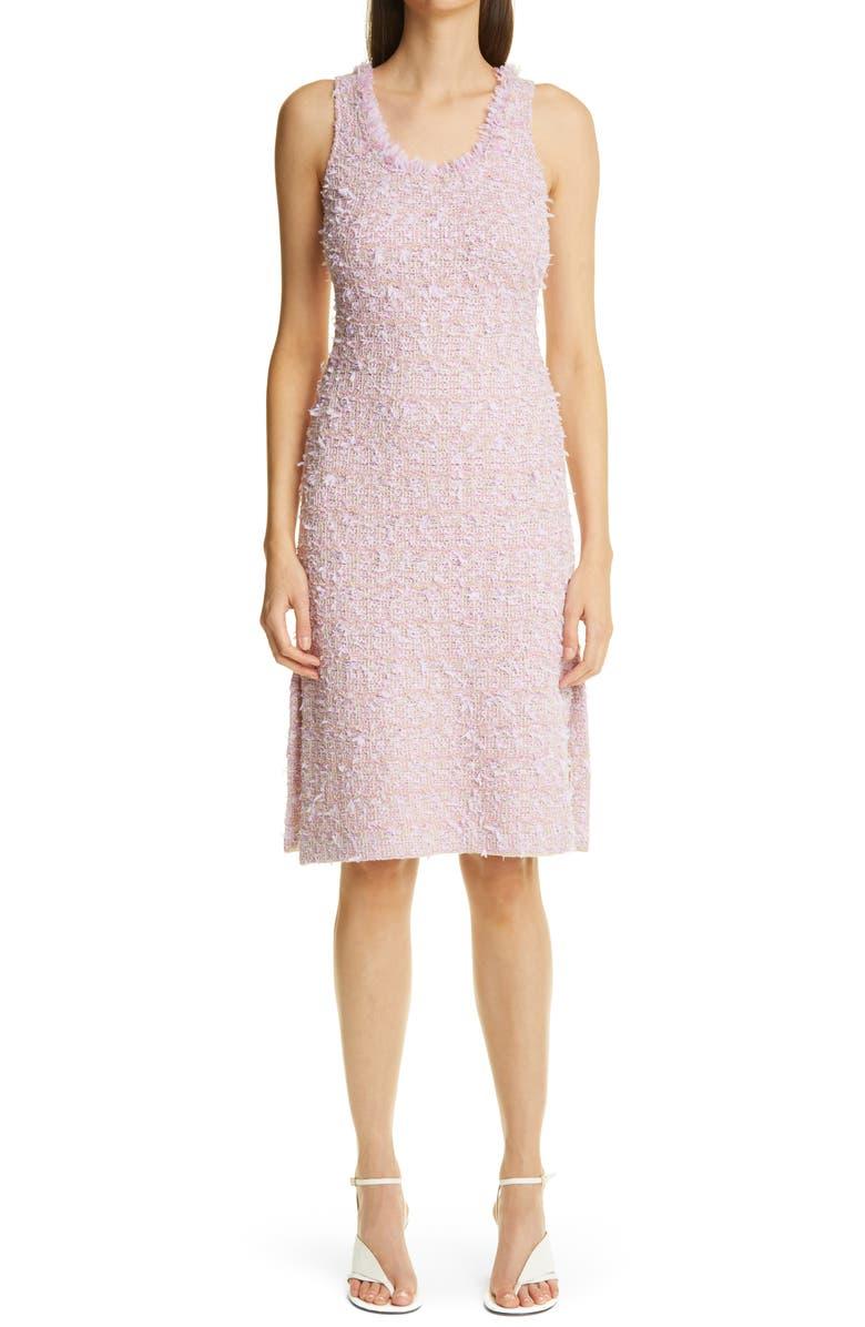 ST. JOHN COLLECTION Fringe Tweed Sheath Dress, Main, color, LILAC/ CREAM