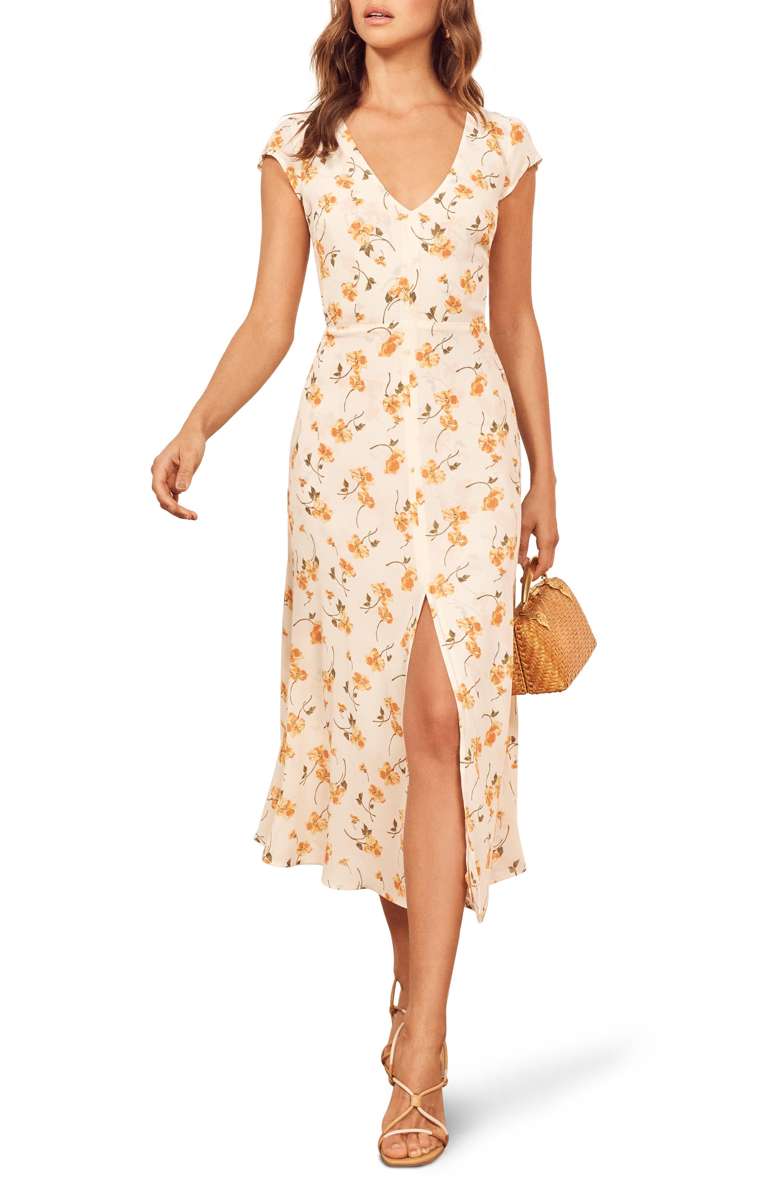 Reformation Floral Wellfleet Back Cutout Dress, White