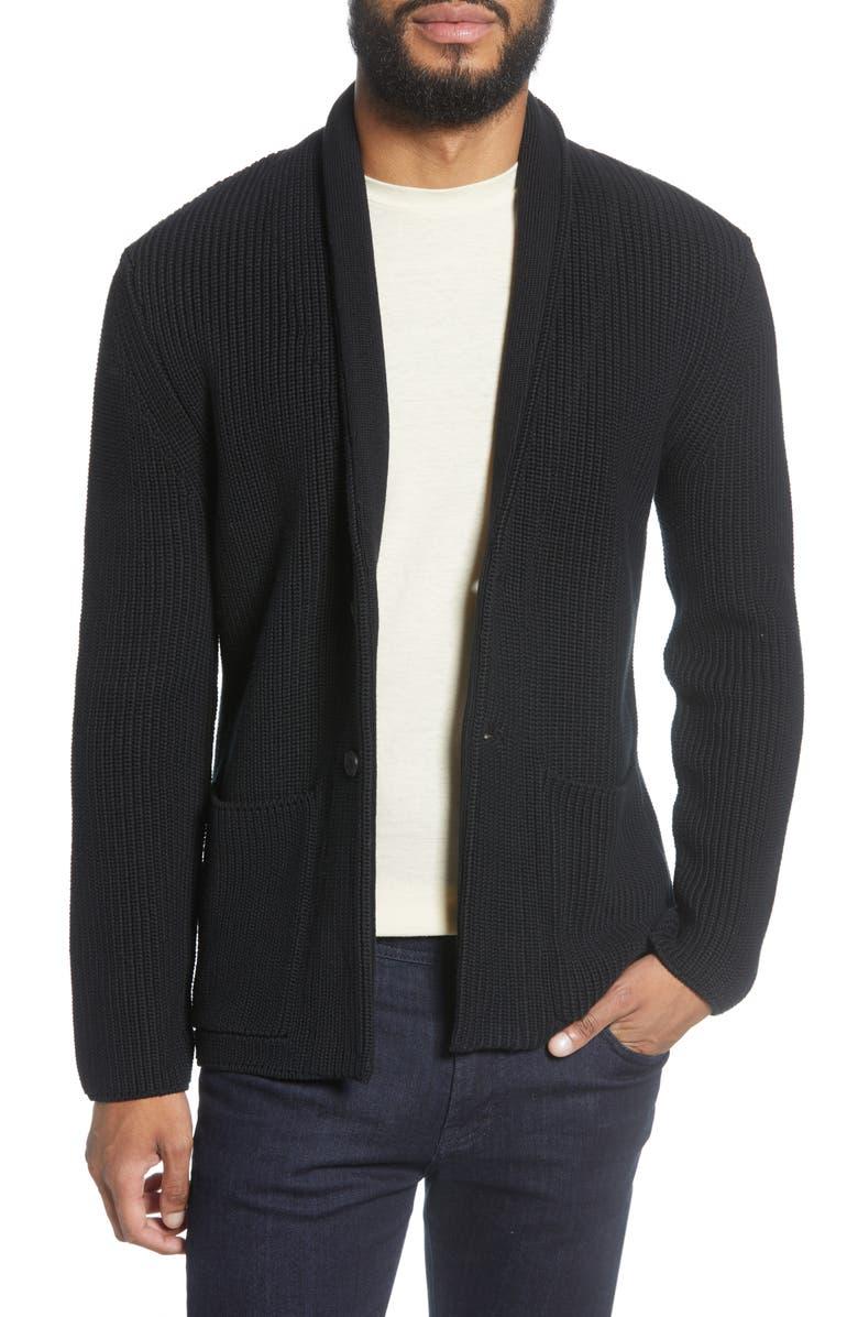 GOODLIFE Slim Fit Shawl Collar Cardigan, Main, color, BLACK