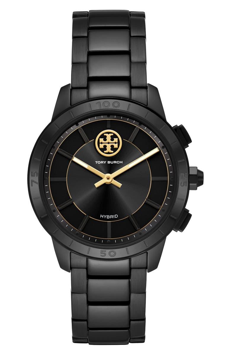 TORY BURCH Collins Hybrid Bracelet Watch, 38mm, Main, color, BLACK