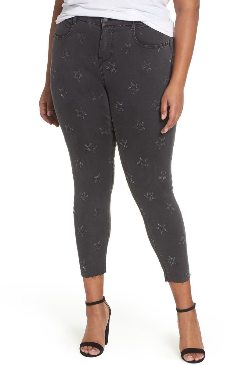 YSJ Star Ankle Skinny Jeans, Main, color, BLACK GALAXY WASH