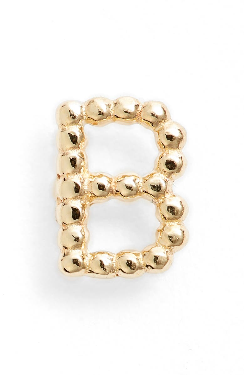 BONY LEVY Single Initial Stud Earring, Main, color, YELLOW GOLD - B