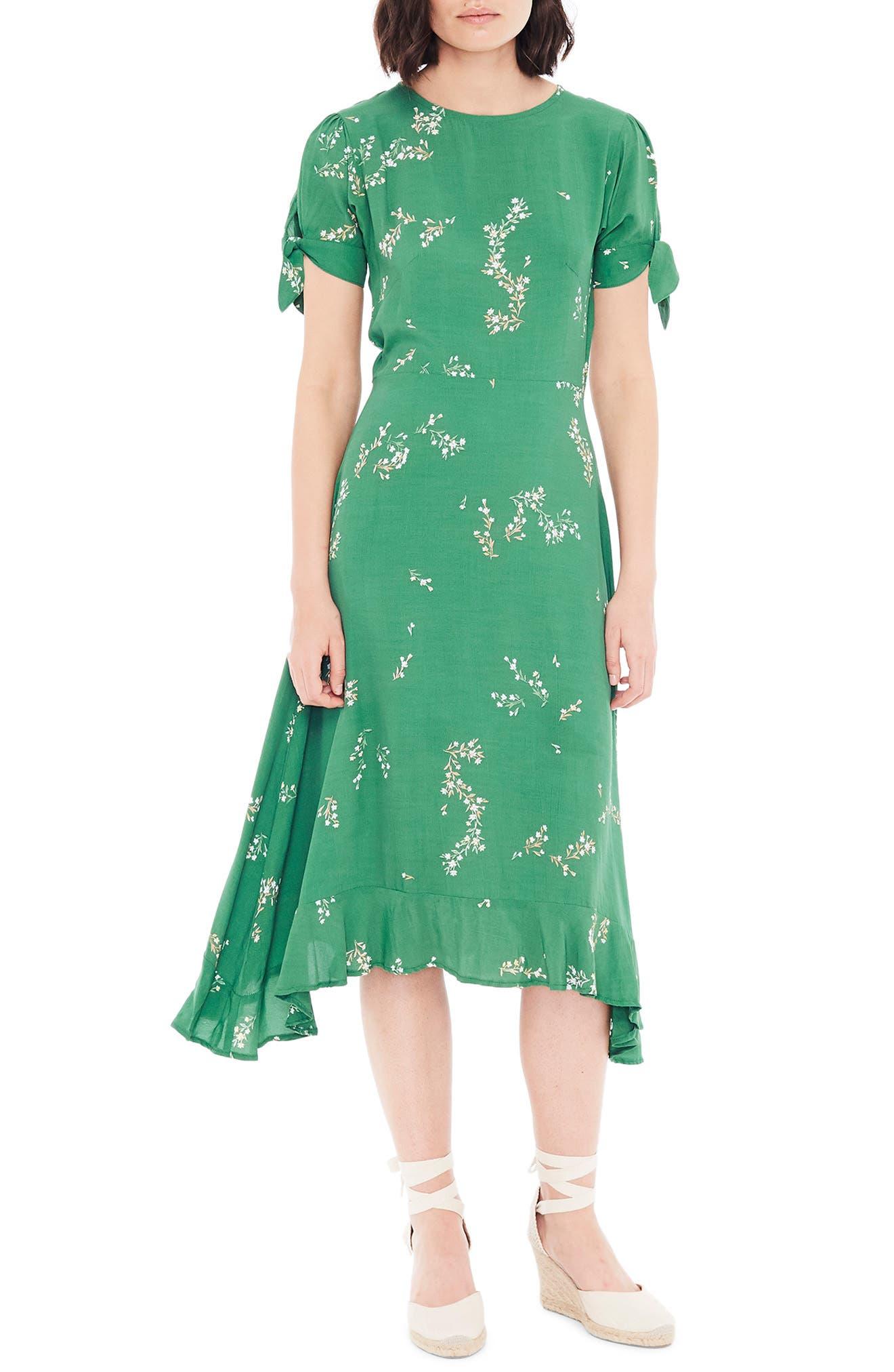 ,                             Emilia Floral Midi Dress,                             Main thumbnail 1, color,                             MYRTILLE FLORAL PRINT - GREEN