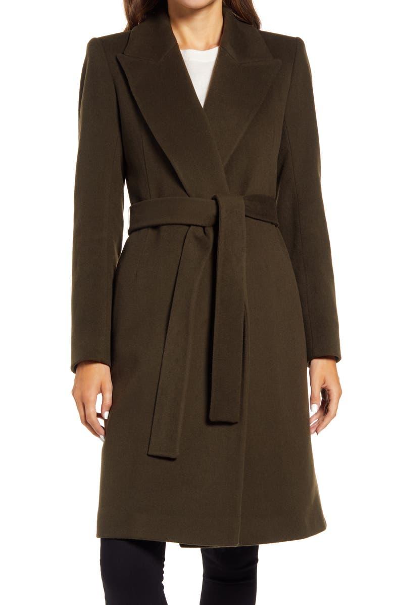 FLEURETTE Peak Lapel Wool Wrap Coat, Main, color, MOSS