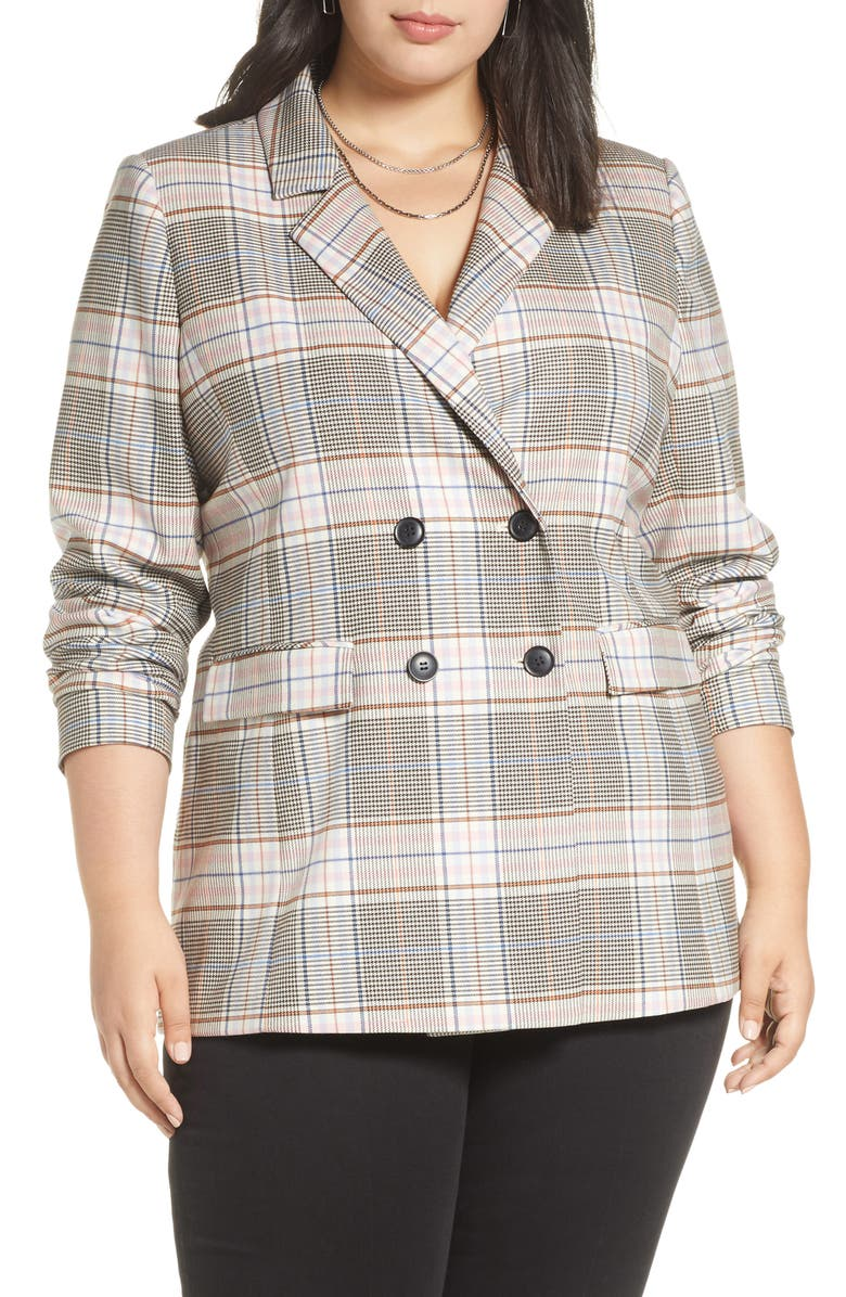 HALOGEN<SUP>®</SUP> Plaid Double Breasted Blazer, Main, color, BLACK MULTI PLAID