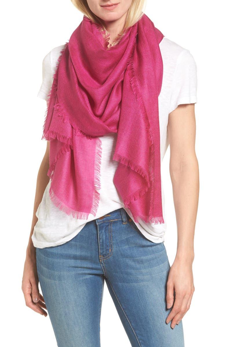 NORDSTROM Cashmere & Silk Wrap, Main, color, PINK PLUMIER