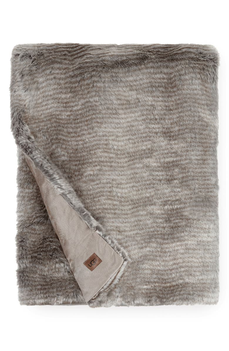 UGG<SUP>®</SUP> Kylan Faux Fur Throw, Main, color, LIGHT SAND / CHARCOAL