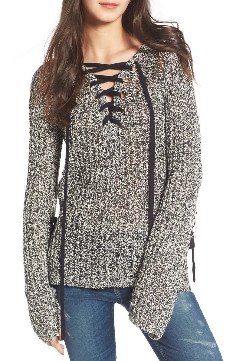 PAM & GELA Lace-Up Sweater, Main, color, 002