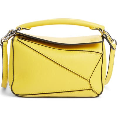 Loewe Puzzle Mini Calfskin Leather Bag - Yellow