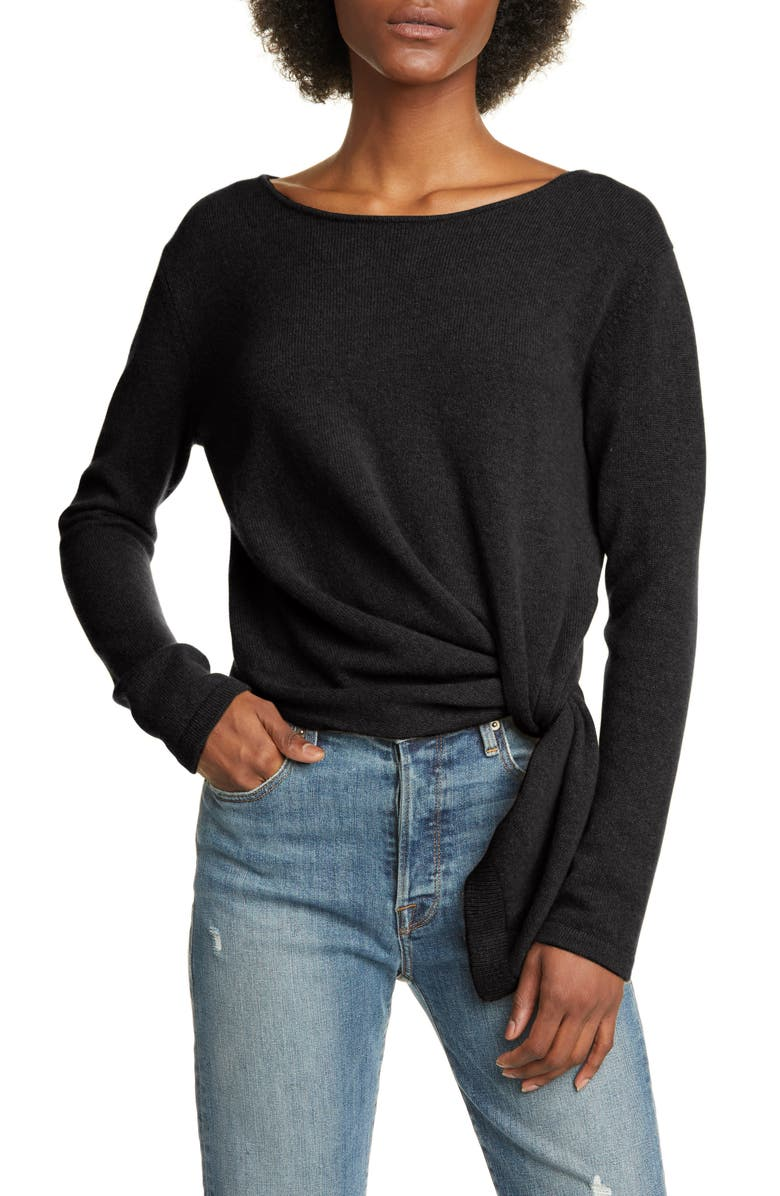 ALLUDE Pull Through Twist Cashmere Sweater, Main, color, BLACK