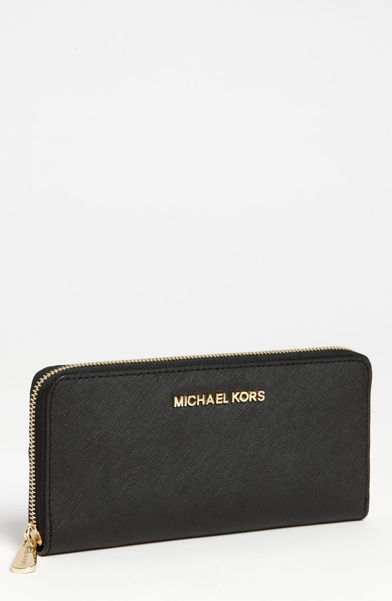 MICHAEL MICHAEL KORS 'Jet Set' Saffiano Zip Around Wallet, Main, color, 001