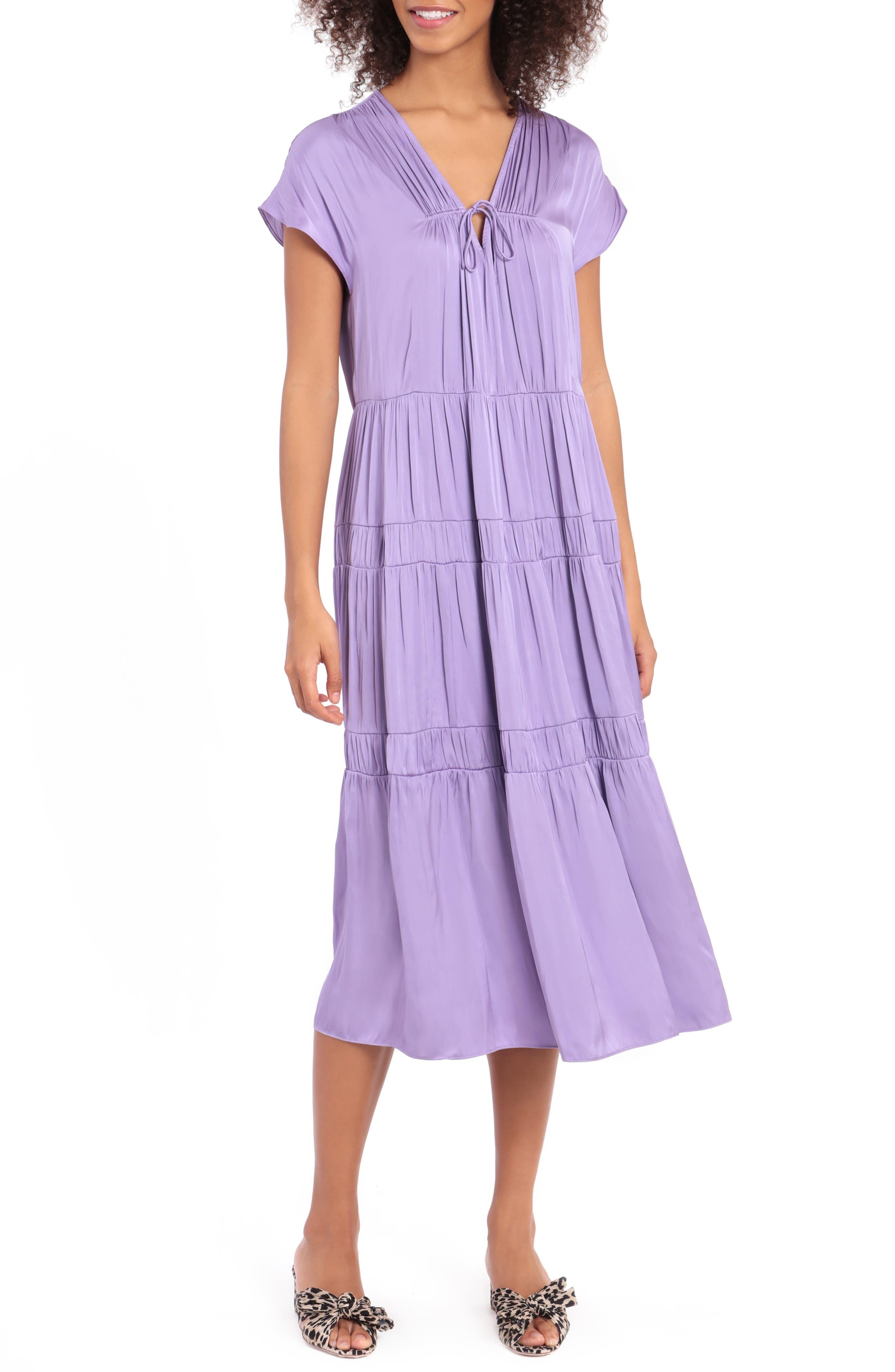 Plush Satin Tiered Midi Dress