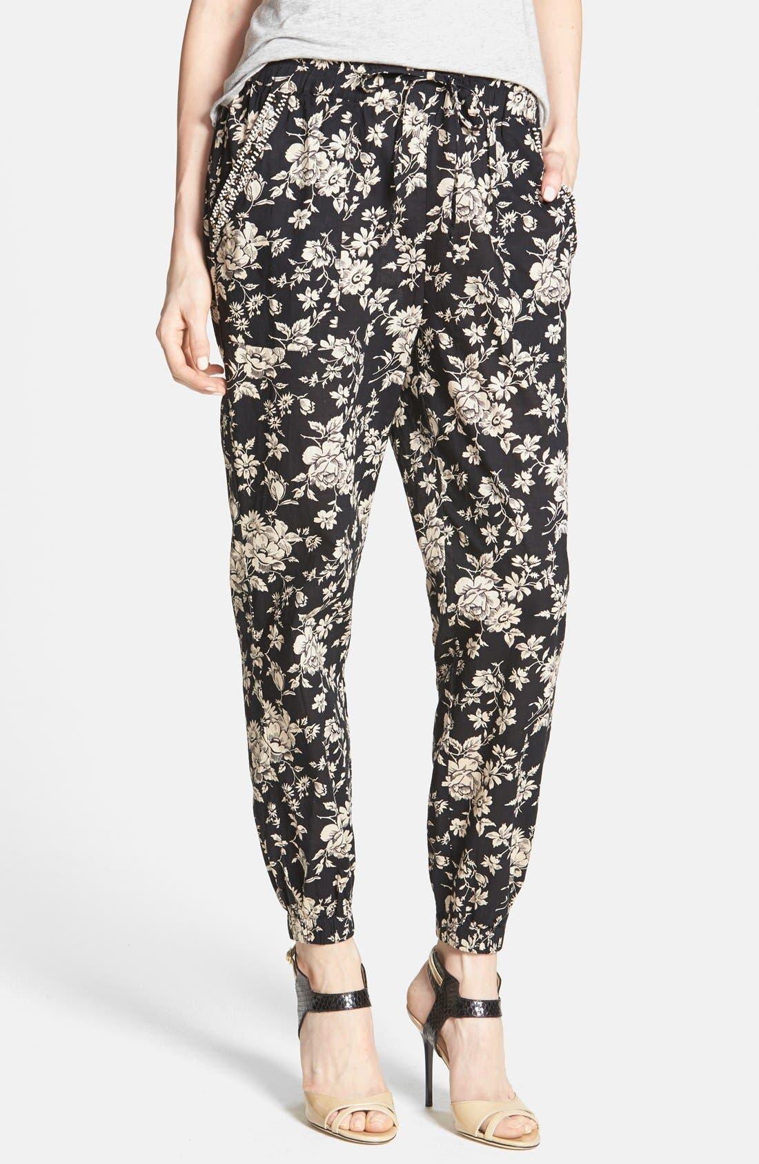 ,                             Beaded Floral Print Lounge Pants,                             Main thumbnail 1, color,                             001